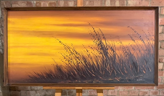 Lovely Original Oil Painting on Canvas By A Williams Depitcing A Sunset