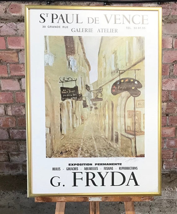 Fabulous G Fryda Signed Art Poster from the Gallerie Atelier of St Paul de Vence