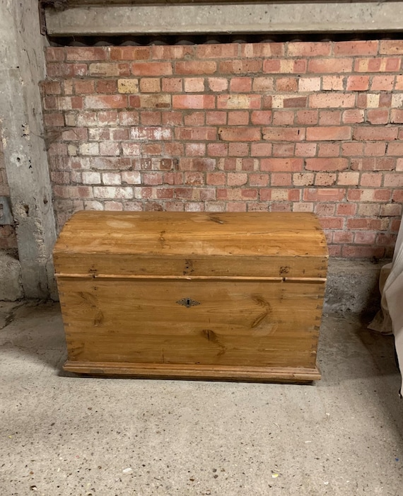 A 19th Century Stripped Pine Dome Top Wedding Chest with ~Candle Box/Glove Box and Side Carrying Handles