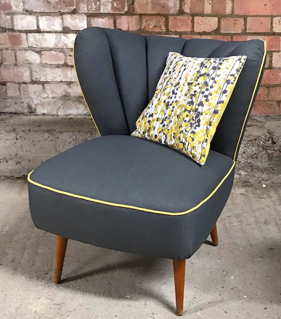 Superb Original Retro Bartholomew Cocktail Chair, re-upholstered to a high standard in a Beautiful Quality Grey Fabric with Yellow Piping
