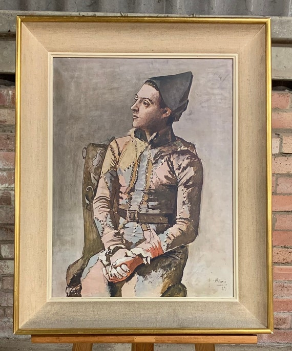 Vintage Picasso framed polychromatic Lithograph Titled Harlequin, Braun & Cie Label verso