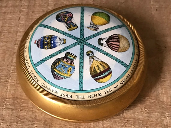 Halcyon Days Enamels Hot Air Balloon Paperweight circa 1980's