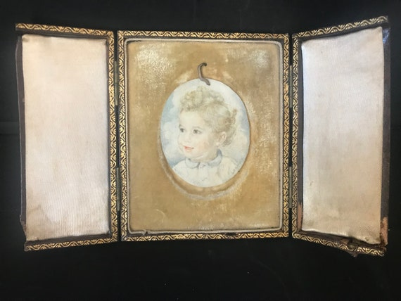 Beautiful Victorian Oval Miniature Watercolour of a young boy, with the name Christopher underneath in a tooled leather case