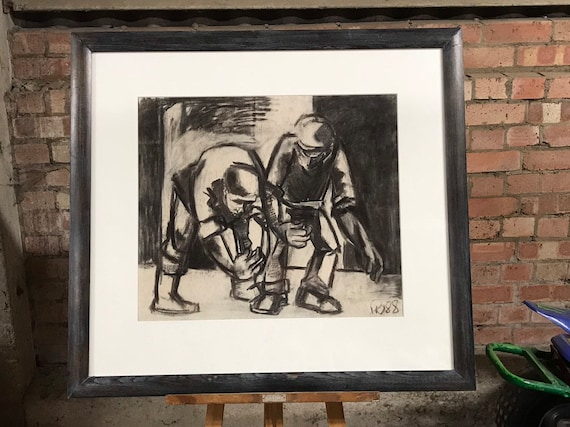 An Amazing Robin Warnes Framed and Glazed Charcoal and Pastel Picture