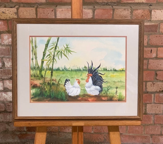 Wonderful Original Watercolour Of A Chicken & Cockeral in a field, by the Thai Artist Chamaiporn Mulliner (circa 1980's)