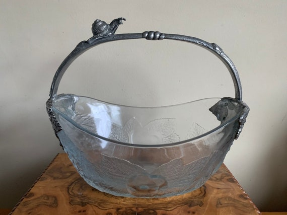 Beautiful Vintage Glass Fruit Bowl With Snail and Grape Decoration To Silver/White Metal Handle Area
