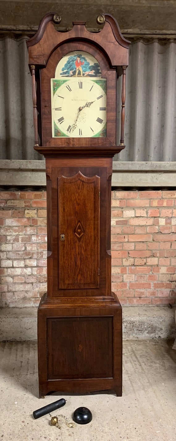 Rather Grand and Handsome circa 1850's Antique Mahogany Handpainted Long Case Clock by William Helliwell of Leeds