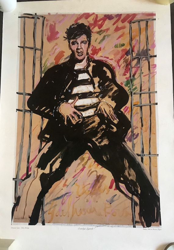 Fabulous Rare David Oxtoby Offset Lithograph of Elvis Presley, dedicated to Dr Rock, Chas White titled 'Dreamin Eyes' , signed by David Oxto