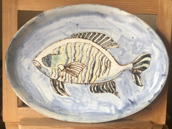 Vintage Geoffrey Small Studio Pottery Ceramic Glazed Oval Fish Plate