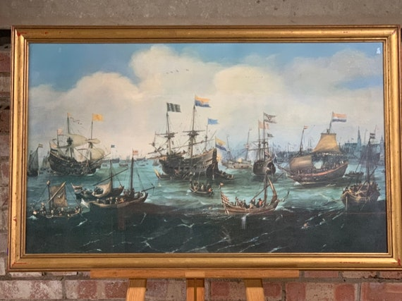 Large Frame and Glazed Print Of The Return Of The Dutch East India Fleet to Amsterdam, in 1599, after Andreis Van Eervelt (1590-1652)