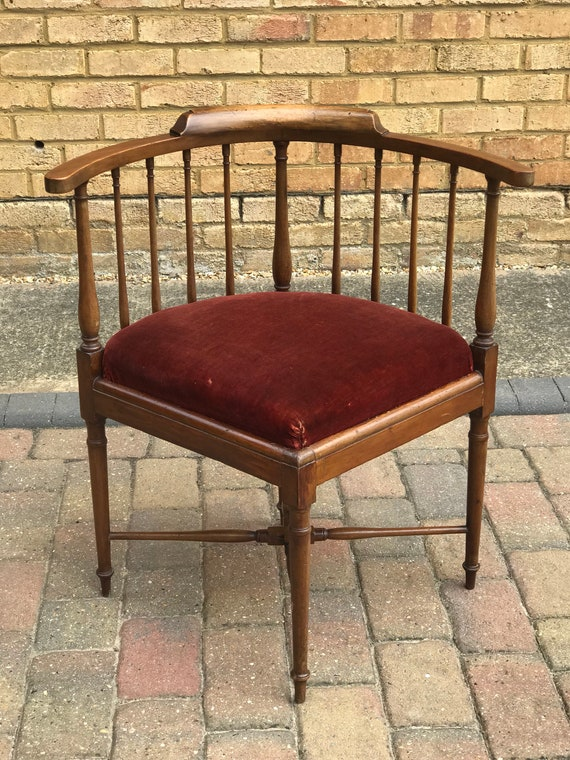 Lovely Unusual 19th Century Spindle Back Corner Armchair with Drop in Seat which would benefit from being reupholstered.