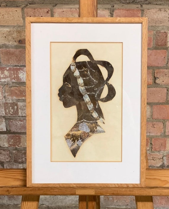 Framed And Glazed Portrait Of An African Lady Made From Butterfly Wings