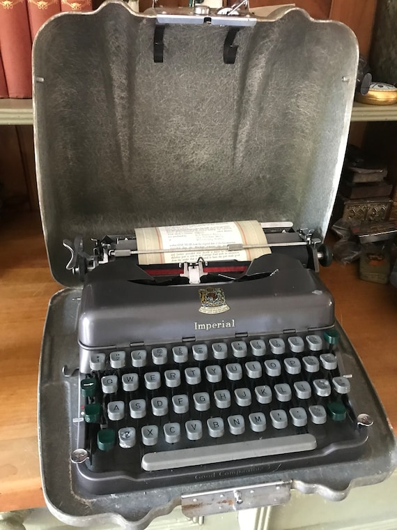 Fabulous Retro Vintage 1950's Imperial Portable Typewriter With Case and its Original One Year Guarantee