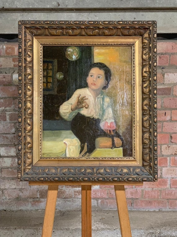 Large 19th Century Continental Oil Painting On Canvas Of A Boy Playing With Bubbles