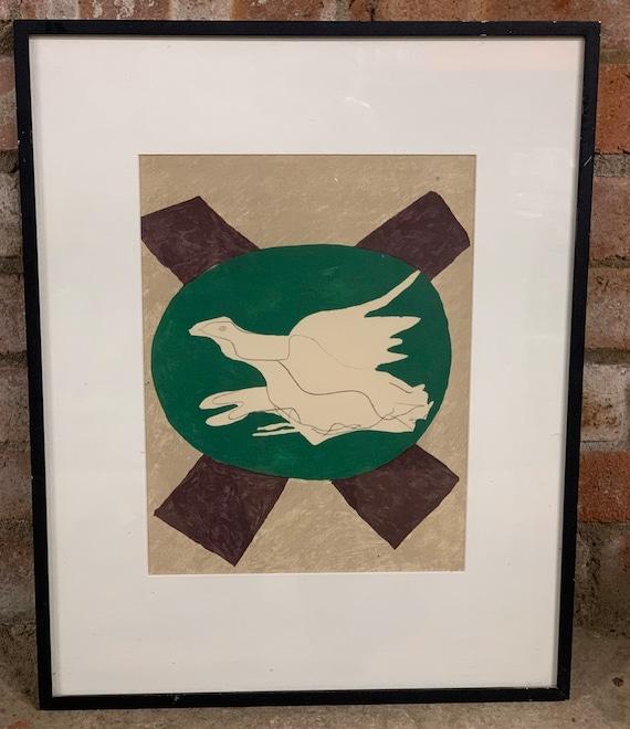 Georges Braque (1882-1963) French Lithograph 'Oiseau Sur Fond De X' 1958