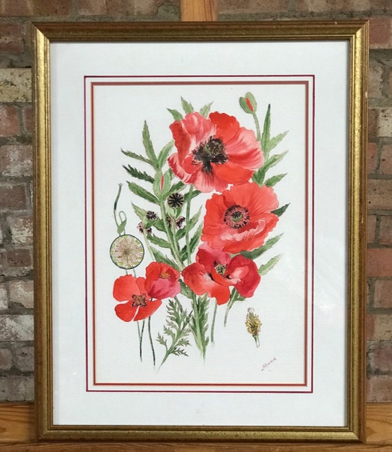 Original Watercolour Of Poppies By A Howard In A Gilt Frame