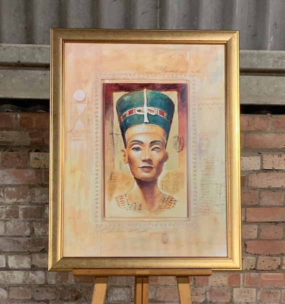 Very Large Gilt Framed Print Depicting A Egyptian Pharaoh