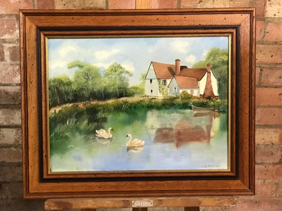 Lovely Oil On Canvas of Willy Lott's Cottage, Flatford, Suffolk by Olive Belcher