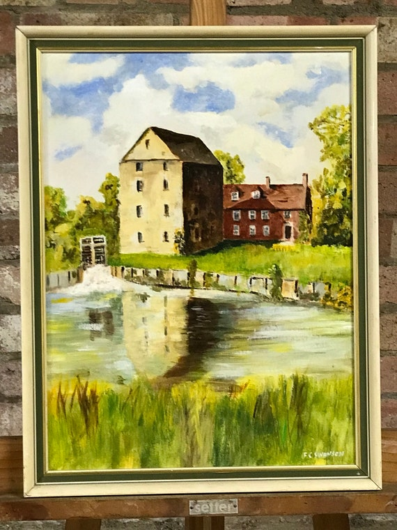 Original Oil Painting 'The Old Mill' River Kennet, Aldermaston By F C Swanson