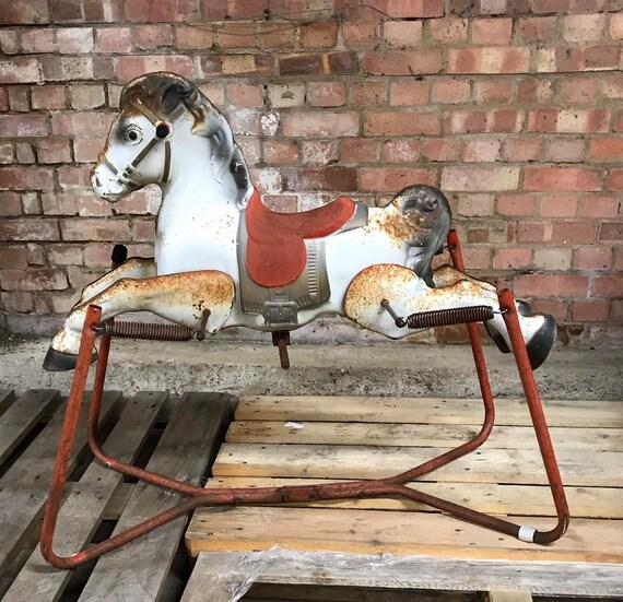 Genuine Original 1960's Mobo Vintage Metal Rocking Horse