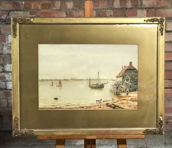 Original 19th Century Watercolour By L Poult Dated 1881 Habour Scene