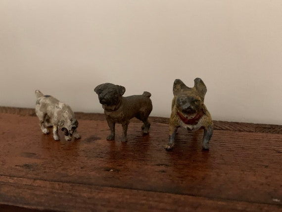 Three Fabulous 19th Century Cold Painted Bronze Dog Figures French Bull Dog, Pug and a Jack Russell