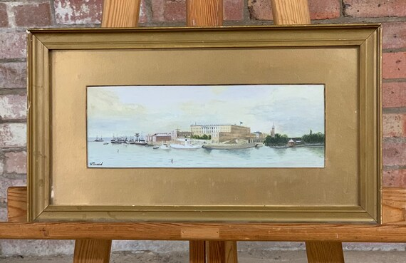 Lovely 19th Century Watercolour of Stockholm Harbour circa 1870's