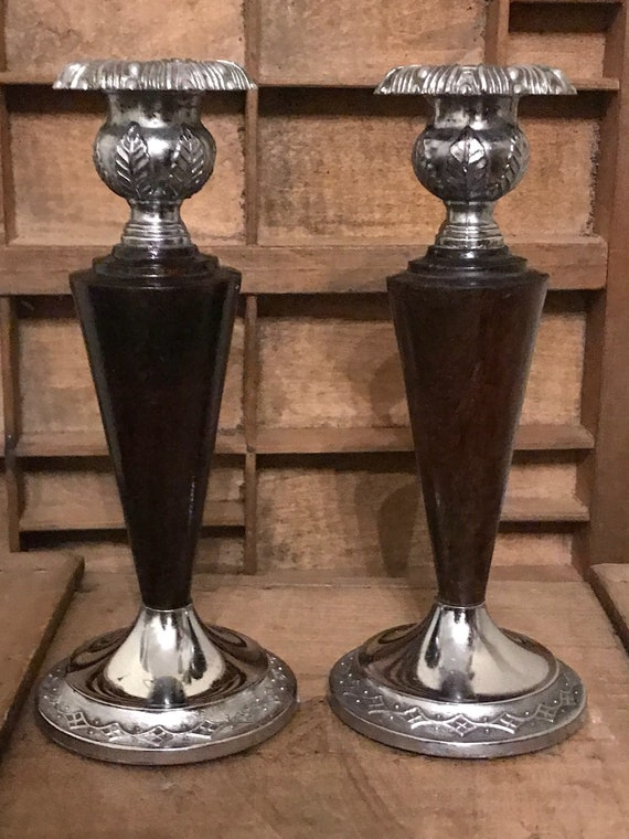 A Pair of Vintage Art Nouveau / Art Deco Style Candle Stick Holders