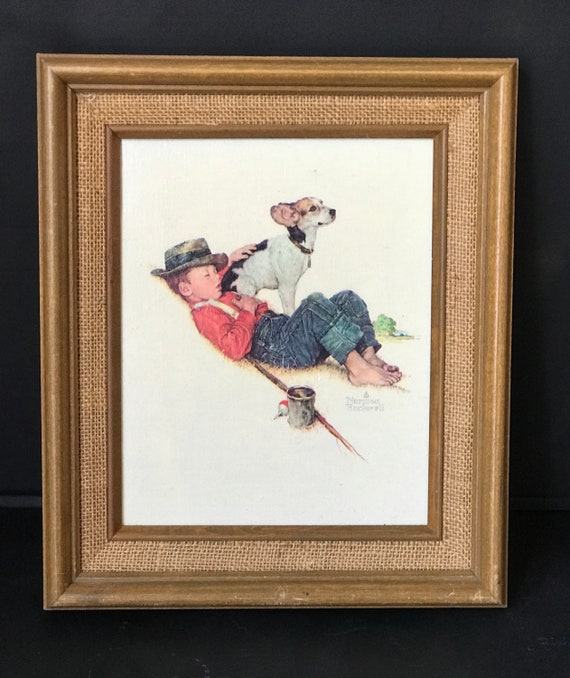 Lovely Vintage Norman Rockwell Print of a Boy Sleeping on the bank with his Fishing Rod and his hand on his Jack Russell dog