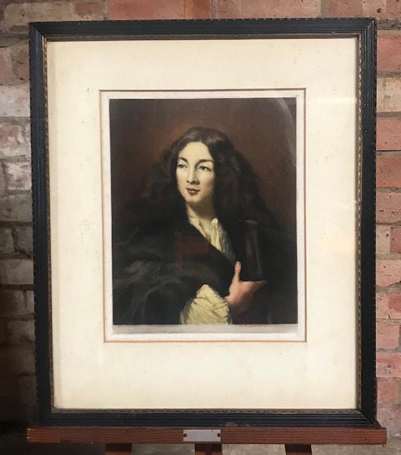 Original Framed Engraving Portrait of Moliere (Jean Baptiste Poquelin, Signed Will Henderson