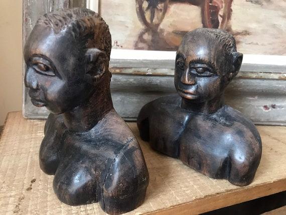 Vintage Pair of Carved Hardwood African Male and Female Busts