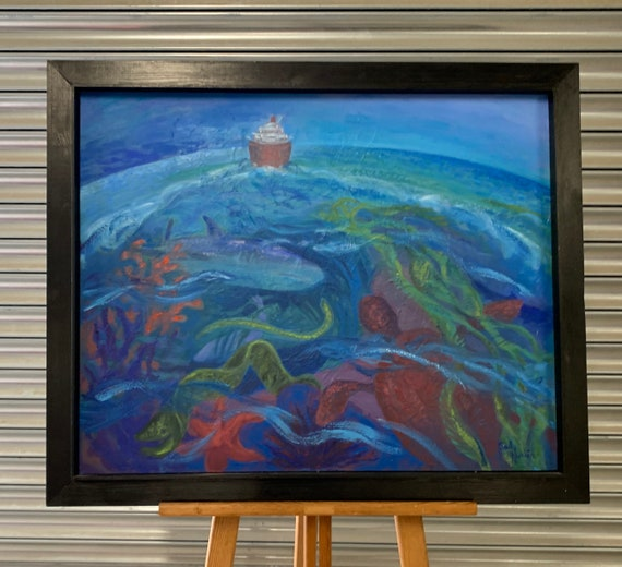 Original Oil Painting On Canvas Of A Ship At Sea By Sally Hunkin