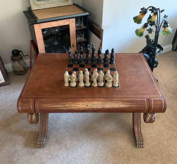 Large Vintage Chess Table In The Shape Of A Book On Scrolled Legs