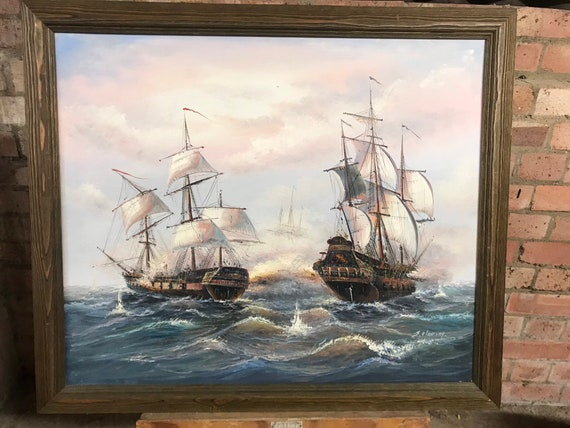 Original Oil Painting of Galleon Ships at Sea by J Harvey