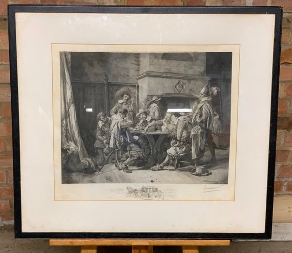 Felix Bracquemond After Jean Louis Ernest Meissonier Artist Proof Etching titled Partie Perdue circa 1889