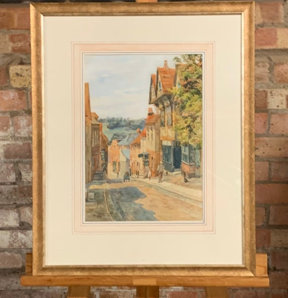 Original Watercolour By Henry Sheppard Dale of Mermaid Street, Rye, Sussex - Dated 1902