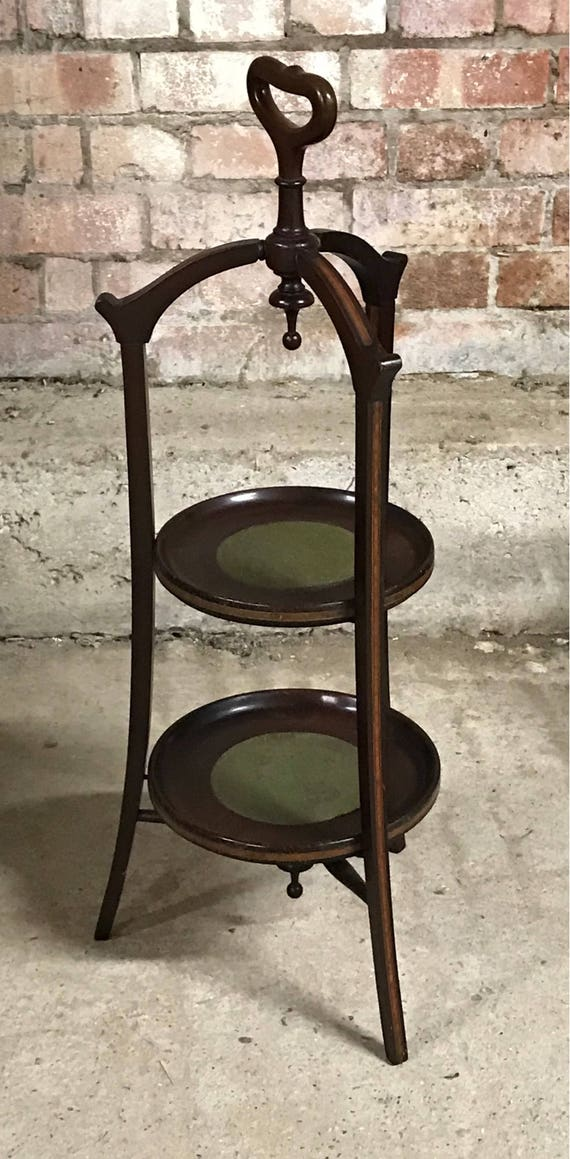 A Beautiful Victorian Mahogany Two Tier Cake Stand from a Private Estate in England