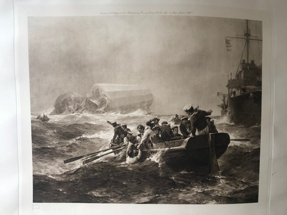 Rare 1918 Engraving By Henry Graves Of Zeppelin Crashed At Sea After B F Gribble