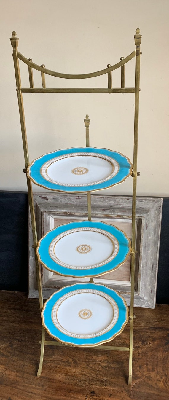 Beautiful 19th Century Brass Cake Stand With Stunning Hand Painted Plates Stamped for the date 1868.