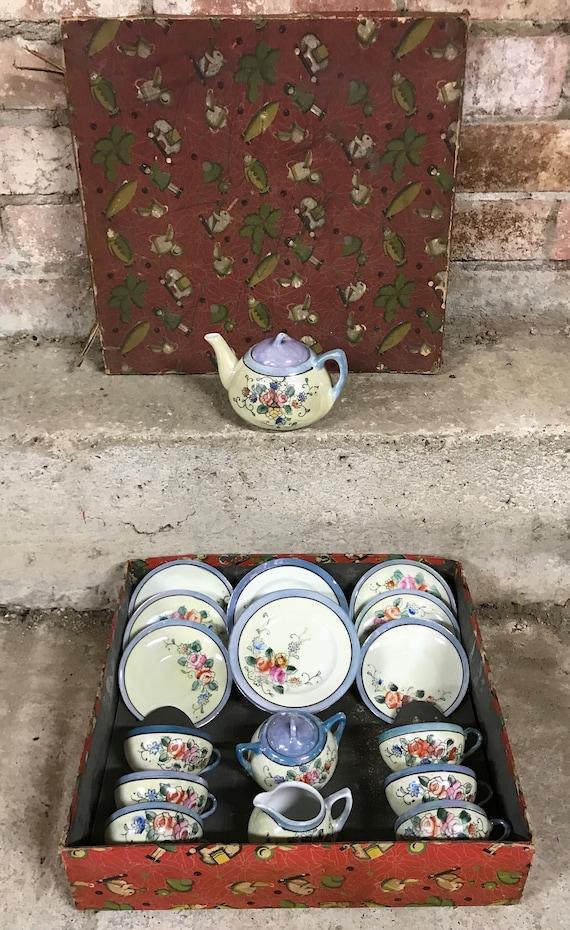 Original Vintage 1960's Boxed Fine China Made In Japan Children's Tea Set