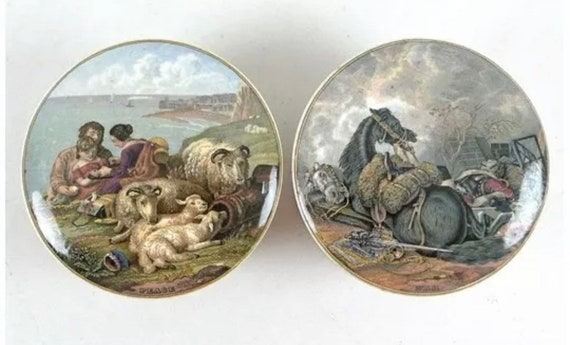 Mid 19th Century Prattware Pots Lid titled 'War' with John Burgess Advertising Label to lid and the other titled 'Peace'