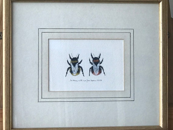 Beautiful Original Watercolour Of Bees With Personal Inscription Underneath