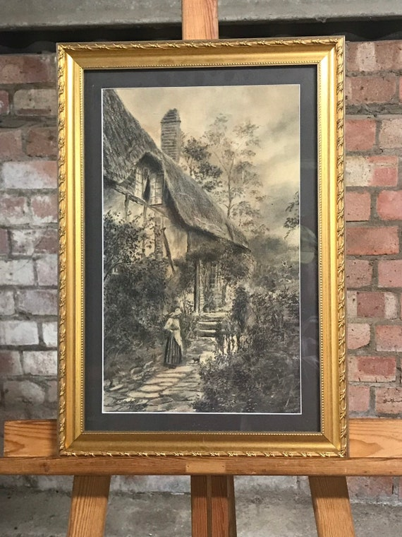 Fabulous Original Drawing Of Anne Hathaway's Cottage Dated 1803 By J T Steadman