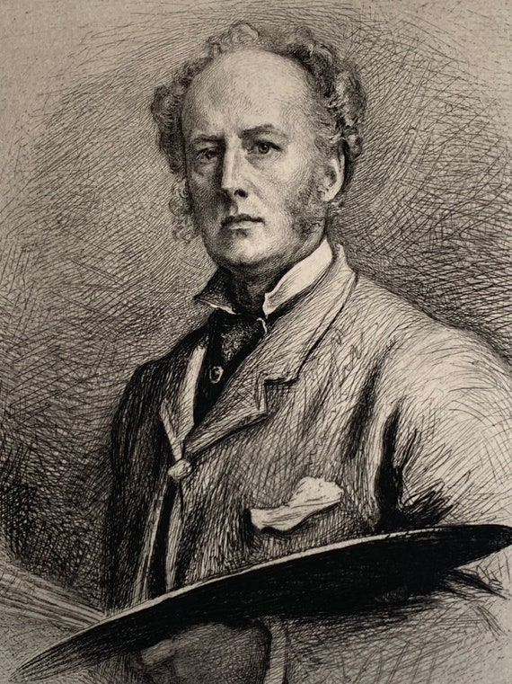 19th Century Self Portrait Of Sir John Millais Etched On Woven Paper By Charles Albert Waltner in 1882
