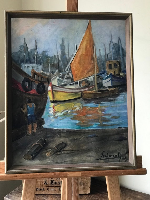 1960's Oil On Canvas Of Boats In A Harbour - Indistinctly Signed