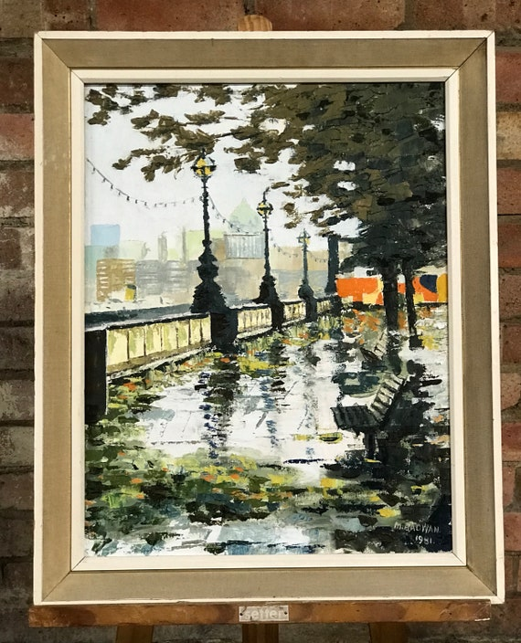 Oil Painting of the View of St Paul's from the South Bank of The Thames, London, by M Radwan