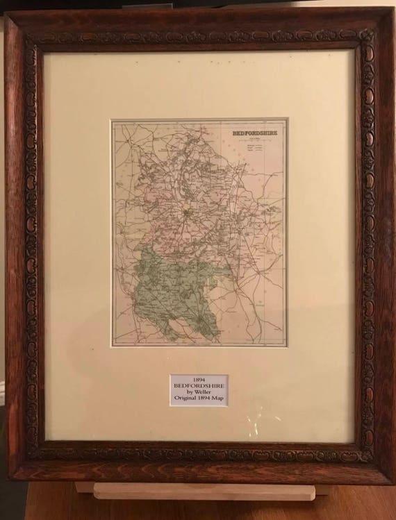 Fabulous Original Beautiful Oak Framed 1894 Map Of Bedfordshire By Weller