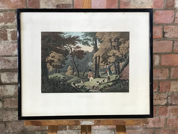 Pheasant Shooting, Black Park Near Uxbridge, Framed Hand Coloured Engraving by Robert Havell Jr