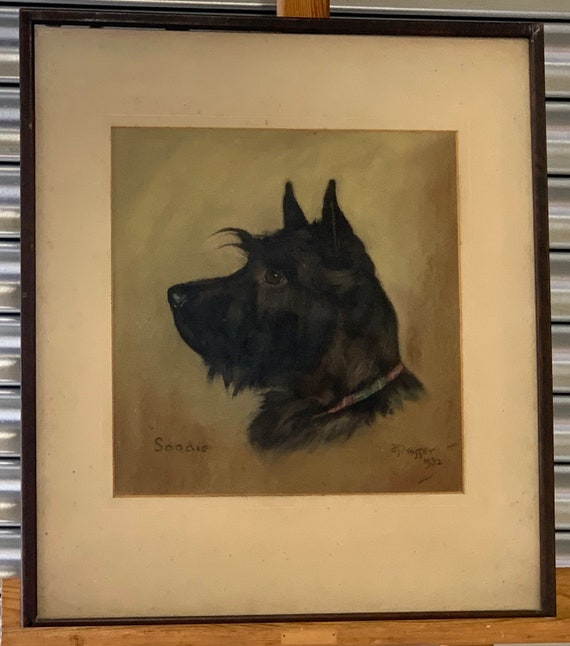 Beautiful Antique Pastel Of A Scottish Terrier By Frank Prosser Titled 'Sandie' Dated 1932