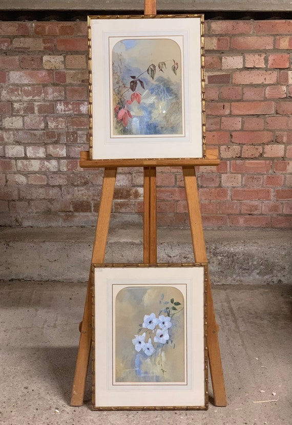 Beautiful Pair Of Vintage Gilt Faux Bamboo Framed Chinese Watercolours Of Flowers